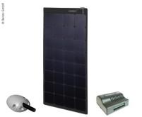 Solarpanel 12V / 100W schwarz inkl. Laderegler und  Dachdurchführung