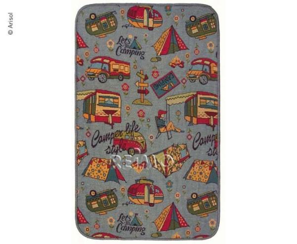 Wohnraumteppich, 80x50cm, Lets go camping, grau