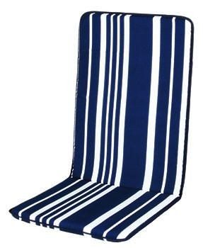 Nizza Stuhlauflage hoch, blau-weiss
