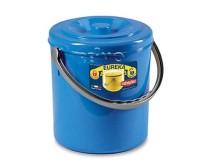 Poubelle avec couvercle de fermeture, 10l, bleu, Ø25cm, hauteur 27cm