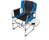 Chaise pliante Chaise de directeur Paloma, noir/bleu, avec table