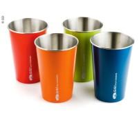 Becher-Set, 4 Stk, Edelstahl, blau,rot,grün,orange , 500ml