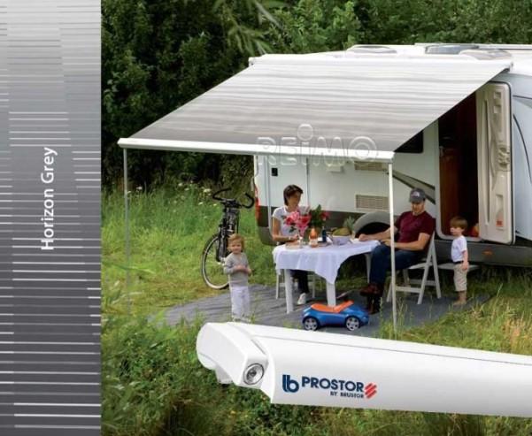 Perfect Roof 2500, 4,5m Gehäuse weiss, Tuch Horizon t grau Auszug 275cm