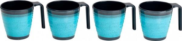 Flamefield Tassen Granite Aqua 4er Set
