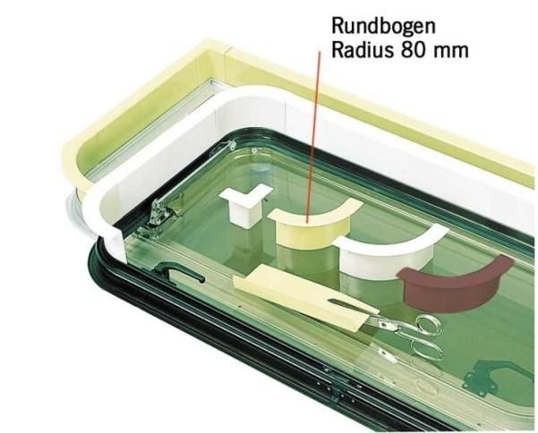Fensterinnenverkleid. hellgrau - Rundbogen Radius 80 mm