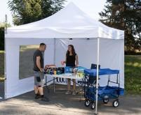 Tente pavillon 3x3m, blanche, cadre en aluminium, système de montage rapide