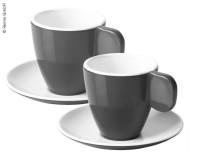 Tasses à expresso en mélamine, lot de 2, anthracite/blanc, 2 tasses+2 soucoupes
