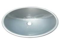 Waschbecken oval Kunststoff 450x335x145mm silbergl änzend
