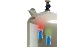 Indicateur de niveau des bouteilles de gaz pour les bouteilles de 5, 11 et 33 kg, gris/bleu