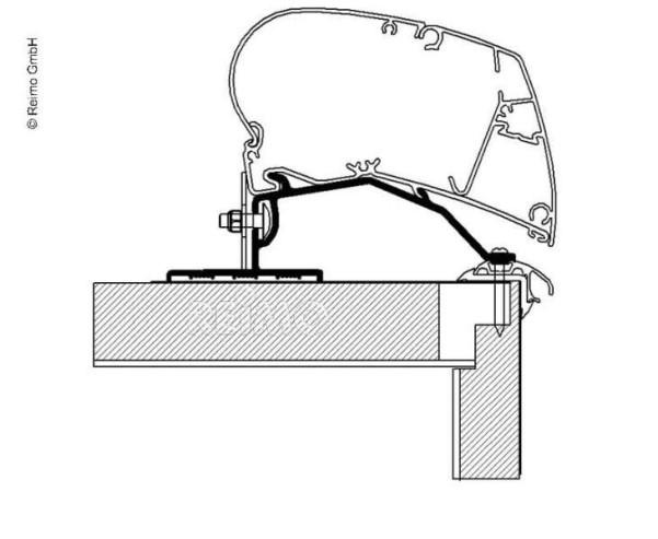 Adapter für Omnistor Markise, Fendt, Roof Adapter, 5,00 m