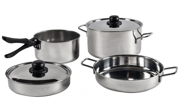 Ensemble de casseroles en acier inoxydable 7 pièces.