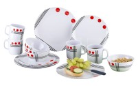 Berger Dots Set de vaisselle en mélamine 16 pièces Rouge