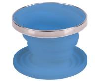 Porte-filtre à café en silicone, pliable, ø11cm, bleu, avec anneau en acier inoxydable