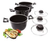 Ensemble de casseroles en aluminium 6 pièces gris foncé
