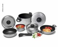 Jeu de casseroles en aluminium 9 pièces rocky Line, épaisseur 1,2mm