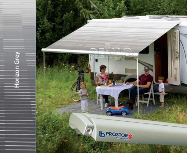 Perfect Roof 2500, 3,5m,boîtier argenté.toile:gris horizon,extension 275cm