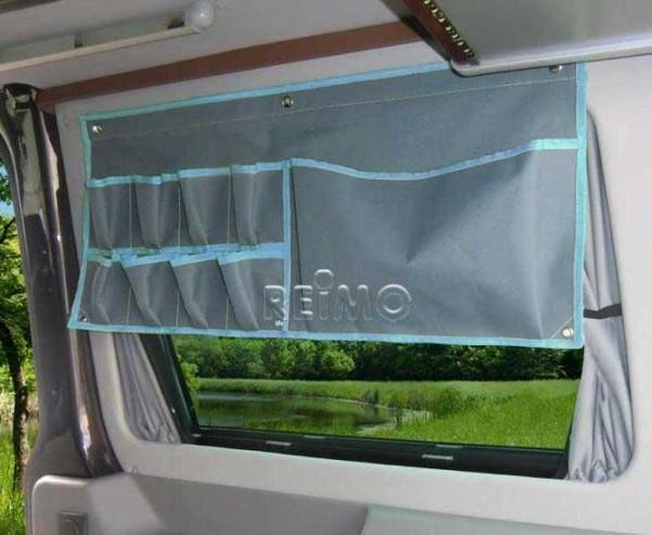 Car Organizer: 1 grosse u.8 kleine Taschen grau/blau mit Druckknopf-Bef