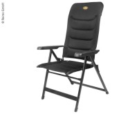 Chaise pliante MALAGA BREEZE, rembourrée, noire, en filet