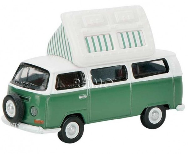 Modellauto VW T2aBus Camper, mit geöffnetem Dach+E rsatzrad,Farbe: grün