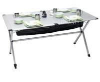 Table à roulettes alu, Titan Space 2 140x80x70cm avec sac trans port, filet