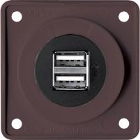 12 V USB  Steckdose Braun