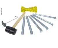 Zelt-Accessoires Set: 1xHammer,6xHeringe,1x Hering sauszieher,20mSpann