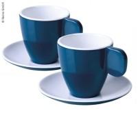 Tasses à expresso en mélamine, lot de 2, bleu foncé/blanc, 2 tasses+2 soucoupes