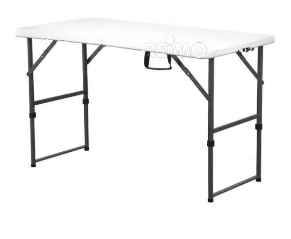 Tisch Easy 1, 122x61cm,HDPE-Platte weiss=4,2kg,Stah lgestell,höhenverst.