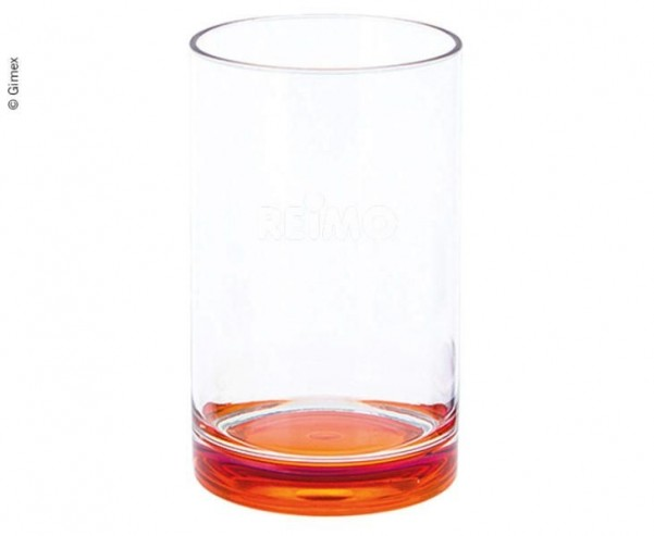 Gimex Trinkglas aus SAN, orangefarbener Boden, 250 ml