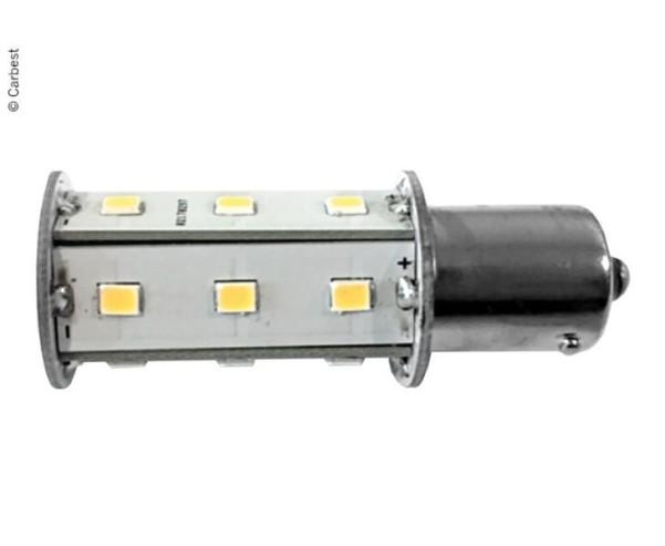 LED BA15S, 2,5W, 220 Lumen, 18 SMD blanc chaud