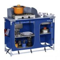 Berger Campingküche mit Spüle blau blau, grau