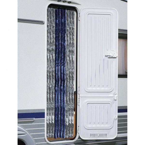 Berger Chenille-Flauschvorhang dunkelblau, grau | 205 x 56 cm