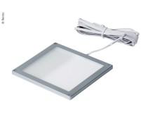 Plafonnier LED 12V/3W, montage en surface, cadre argenté, 1 00x100mm