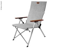 Chaise pliante JOPLIN, gris chiné, accoudoir en bois