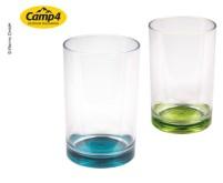 Gläserset TARIFA, 350ml, SAN, 2er Set, Boden:lime  u.petrol