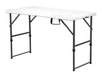 Table Easy 1, 122x61cm, plateau HDPE blanc=4,2kg, cadre en acier, hauteur réglable.