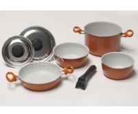 Jeu de casseroles en aluminium 7 pièces orange, épaisseur 1,2mm