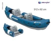 Kayak RIVERA, bleu/gris, f. 2 pers., y compris double padd el en aluminium